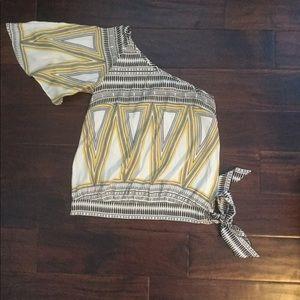Marciano silk one shoulder tie waist top Sz M